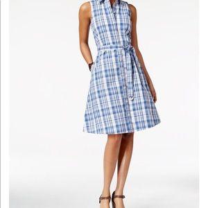 American Living blue & white plaid shirtdress